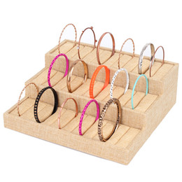 Linen Ring Holder Rings Display Stand Earring Storage Rack Fine Bracelet Tray Bangle Display Stand Props