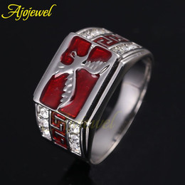 010 New Arrival Zinc Alloy Men Jewelry 18K White Gold Plated Rhinestones Red Enamel Eagle Rings For Men