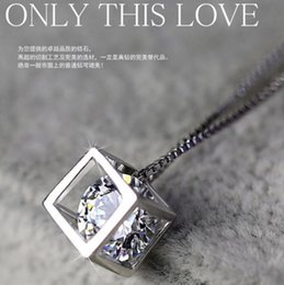925 sterling silver pendants female love cube square window Korean love silver jewelry Necklaces Valentine's Day gift