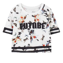 Wholesale 2016 Summer New Fashion Sexy Harajuku Printed Slim Fitness Bustier Cropped Tops Women Bodycon Short T Shirt Letter Floral Banana
