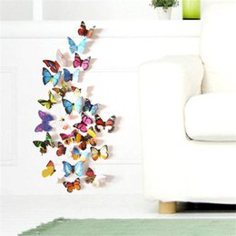 Wholesale 12pcs Colorful Design d Butterfly Wall Sticker Decor Butterflies Art Wall Art Home Decor