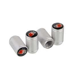 Wholesale Mixed Universal Silver Aluminum Car Wheel Tire Valve Caps Stem Air Dust Cover For Audi Sline set