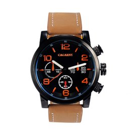 2015 Fashion Cagarny 6829 Quartz Men Sports Watches Military Casual Watches Men Wristwatches Leather Band Relogio Masculino Orange