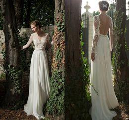 Cheap 2019 Sheer Long Sleeve A Line Boho Wedding Dresses Illusion Neck Backless Chiffon Beach Bridal Gowns Custom Made Vestidos De Novia