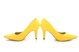Yellow Shiny Bridal Wedding Shoes Girl High-heeled Shoes Nightclub Performances Prom Shoes DY33049 NO:58