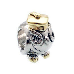 Factory sale 22K Gold and rhodium Plating Birds Lucky animal Charms European Bead Fit Pandora DIY Bracelet