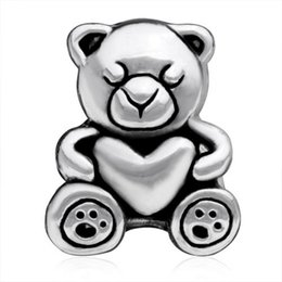10 pcs per lot Rhodium Plating Care Teddy Bear Heart Love Bead Charm Fit Pandora Bracelet