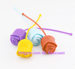 100pcs lot Cute Silicone Rose Rose-shaped Flower Tea Ball Bag Filter Herbal Spice Tea Infuser Tool