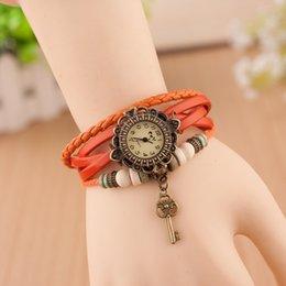 Wholesale 200pcs up Best Selling Women Leather Bracelet Watch Women Dress Watches Angel Wing Pendant Vine Quartz Analog WristWatch