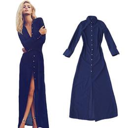Wholesale-Elegent Button Long Shirt Dress Women Long Sleeve Vintage Maxi Dress Casual Split Dresses Turn-down Collar vestido de festa 2015