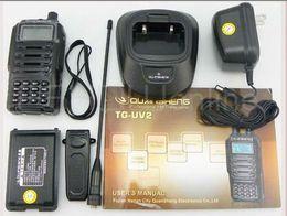 Wholesale DHL Freeshipping best quansheng tg uv2 uhf vhf dual band radio tg uv2 ham way radio station portable walkie talkie