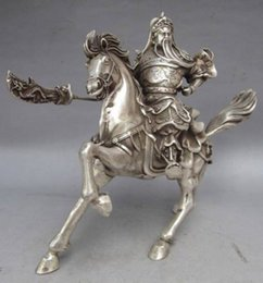 Wholesale Chinese Collectable Tibet Silver Warrior God Guan Yu Horse Statue aaa88