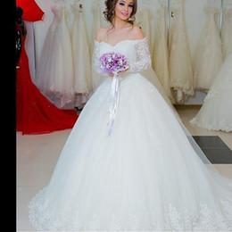 Romantic Off Shoulder Arabic Ball Gown Wedding Dresses with Sheer Long Sleeve Lace Applique Victorian Princess Bridal Gowns Vestido De Noiva