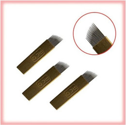 Hot Sale #12, #14 Permanent Makekup Microblading Eyebrow Manual Pen Needle Handtool Blade 200pcs lot