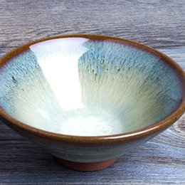 Wholesale New Hot Sale Coarse Pottery Handpaited Hat Shape Mug Teacup Ceramic Kungfu Teacup Pot Art Craft Antique Gift Inner Calving Draw order lt no