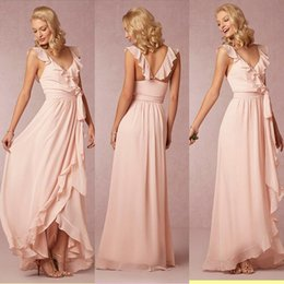 Charming Pink Chiffon Bridesmaid Dresses 2016 Bhldn A-Line V-neck Long Ruffled Backless maid of Honor Prom Formal Gowns Custom Made
