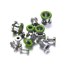 Pendientes del pezón en Línea-14pcs / lot quirúrgicos barras de bar de anillos de acero lengua pezón verde joyas pendiente cuerpo de acero inoxidable penetrantes