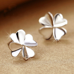 Top quality 925 sterling silver earrings items crystal jewelry stud earrings clover shaped charms ethnic vintage wedding