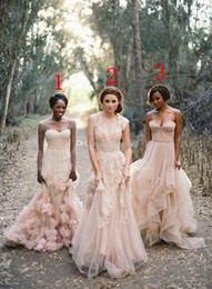 Deep V Cap Sleeves Sweetheart Pink Lace Applique Tulle Sheer Wedding Gown 2014 Cheap Vintage A Line Reem Acra Blush Bridesmaid Dresses