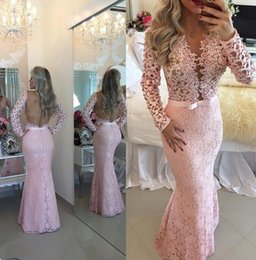 Wholesale Baby Pink Evening Dresses Lace Long Sleeves Prom Gowns Sheer Backless Charming V Neck Floor Length Custom Made