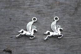 Wholesale 30pcs Pegasus Charms Antique Tibetan Silver Lovely Flying Horse Charm Pendant x15mm