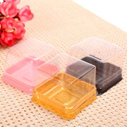 Wholesale Bread Bakery Packing Cake Square Dessert Pastry Container Disposable Plastic Blister Box Baking Packaging