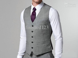 Hot Sale Light Grey Formal Men's Waistcoat New Arrival Fashion Groom Vests Casual Slim Fit Vest NO:86