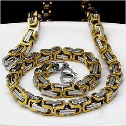 Al por mayor - el bling brillante acero inoxidable 316L pulido de alto eslabón de la cadena bizantina del collar de 2 toneladas de los hombres 22inch 7mm desde alto acero inoxidable pulido fabricantes
