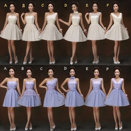 2015 New Short Bridesmaid Dress Violet champagne Strapless Lace Chiffon Bridesmaid Gowns