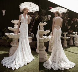 Wholesale 2016 New Arrival Two Pieces Mermaid Wedding Dress Plunging Apllique Lace Sexy Back Court Train Bridal Gowns Online UK