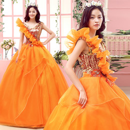 100%real luxury flowers ruffled sequins orange princess gown Medieval Renaissance Gown Victorian dress wedding bell ball