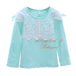 Fresh Green Spring and Autumn Girls T-shirt Fashion Kids Lace Patchwork Long Sleeve Kids Tops GT41015-14