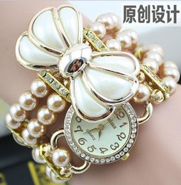 Explosion models original design pearl bow bracelet watch ladies watches