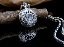 Wholesale pcses Fashion design White steel silver Telephone tray Flip clock unisex pendant Necklace pocket watch