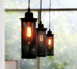 Pendant Lamps retro Industrial lights American Country nostalgic chandelier Hollow iron cylinder downlights Black E27 lighting