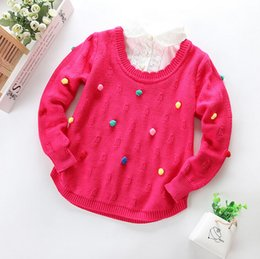 Wholesale 2015 new spring girls sweater fashion children sweater New style girls Long sleeve kids sweater girls False two pieces sweater age T25