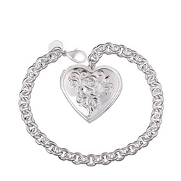 Hot sale gift 925 silver Closed heart-shaped bracelet DFMCH347,Brand new fashion 925 sterling silver plated Chain link bracelets high grade