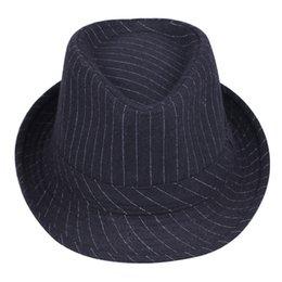 Wholesale-Wholesale  Retail men's Jazz top hat Korean fall winter fedora Hat for adult black grey stripe felt hats for men