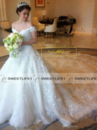 Luxury A Line Long 3D Floral Appliques Off Shoulder Wedding Dresses Customized 2019 Sweep Train Backless Elegant Church Bridal Gowns