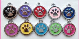 2019 High Quality colorful fashion cute dog paw print Jewelry Alloy Pet Dog Cat ID Card Tags Necklace ornaments Keychain