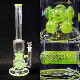 Wholesale NEWEST Fluorescent Green Glass Water Pipes Slime Barrel In Line to Double Cross Diffused Bongs JM Flow Sci Oil Rigs Water Bongs quot Tall