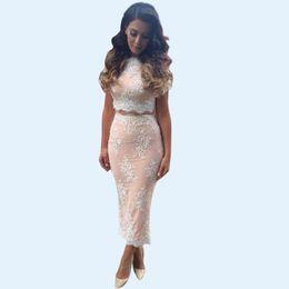 Wholesale Short Beige Evening Dress - New Ladies Lace Bodycon Midi Dress Elegant Beige Party Evening Dress Two-Piece Set Summer Work Dresses LJ008