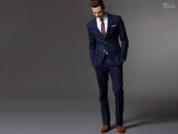 Wholesale Dark Blue Wedding Suits For Men Bespoke Light Navy Blue Groom Suit Men Slim Fit Suit Wedding Tuxedos For Men Vest is optional