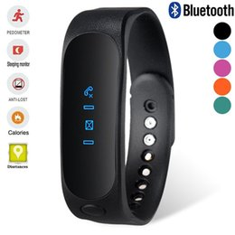 Wholesale E02 Sport bluetooth bracelet smart watch healthy Silicone Wristband Time Caller ID alarm Pedometer Sleep Monitor for IOS Android