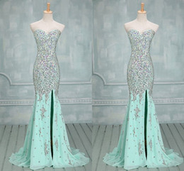 Wholesale 2016 Best selling Real Images Mermaid Prom dresses stunning sequins beaded rhinestones side slit mermaid evening gowns sexy sweetheart