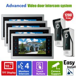 Systèmes d'interphone de portier vidéo en Ligne-YSECU Door Intercom Téléphone Sonnette vidéo système avec caméra sténopé Vidéo filaire 10 pouces 1200TVL 2V4 Home Apartment Entry Kit