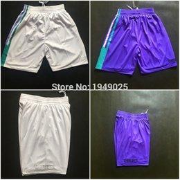 Wholesale Basketball Shorts Jeremy Lin Kemba Walker Al Jefferson Shorts Stitched Purple White Shorts Size M XXL