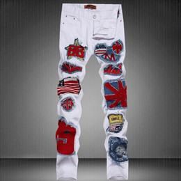 Europe and the United States men's patch the American flag emblem white slacks DJ stage singer features long pants pants
