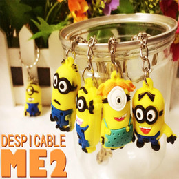Wholesale 12 style Cute Gifts Keys Chain Key Chains Kids Boys Girls D Despicable Me2 D Minions Action Keychain Keyring Key Ring cm