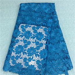 (5yards pc)BW86-7,African lace fabric with rhinestone,Excellent sky blue french flower guipure lace fabric for party dress